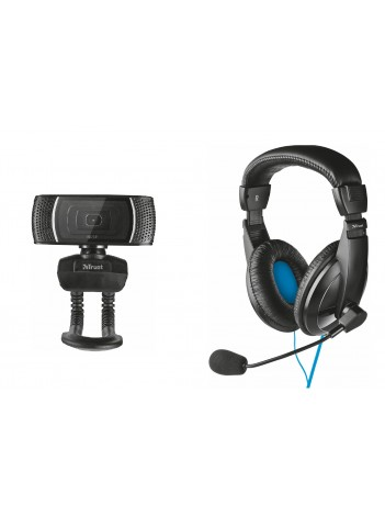 Set Office 2 in 1 Casti cu microfon si camera web Trust pentru PC si Laptop, Negru